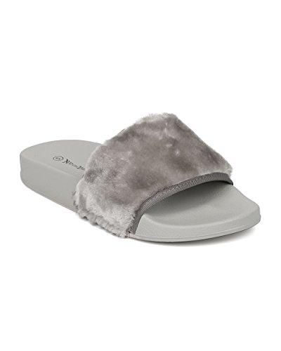 Alrisco Femme Slip Sur Sandale Plate - Diapositives Fourrure - Sandale De Lit Plantaire Floue - Hb04 Par Nature Breeze Collection Gris Fausse Fourrure