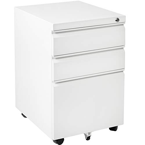 (VIVO White Steel 3 Drawer Mobile Office File Cabinet with Lock | Rolling Pedestal Storage Cabinet on Wheels (FILE-MB01W))