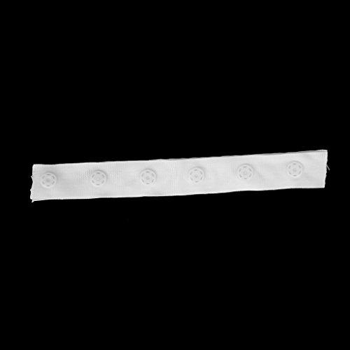2Pcs Snap Popper Tape Fasten Ribbon 6-Button Spacing 25mm