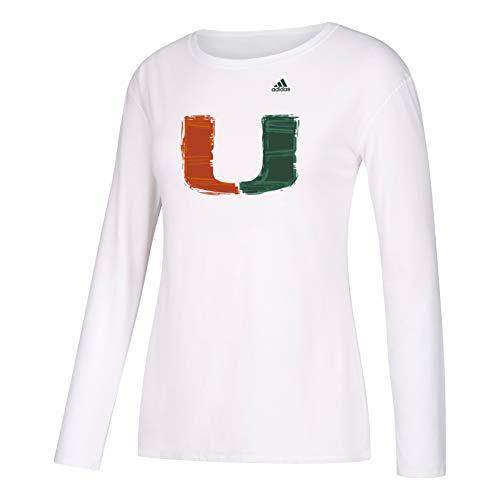 adidas Miami Hurricanes NCAA Women's Mascot Glitch Team Logo White Long Sleeve Crewneck Tri-Blend T-Shirt (XX-Large)