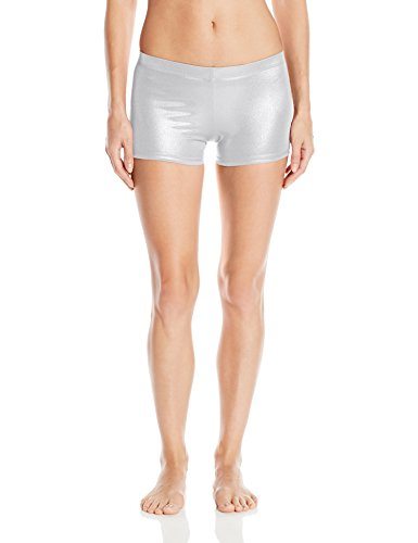 [Gia-Mia Dance Women's Metallic Short Yoga Jazz Hip Hop Costume Performance Team, Silver, L] (Silver Dance Costume)