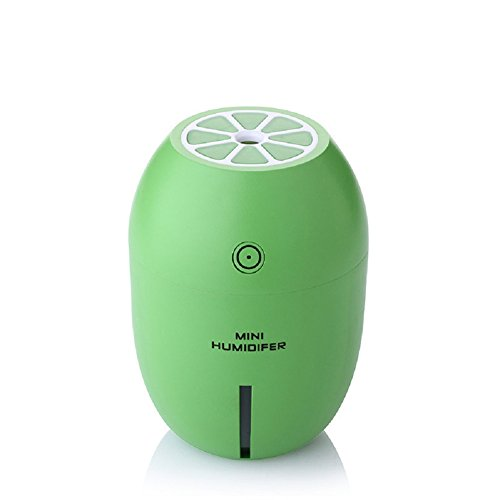 Mini Humidifier - Autbye Lemon Shape USB 180ML Ultrasonic Portable LED Night Light Cool Mist with Automatic Shut-off Function Air Humidifier for Home Office Car Travel Summer All Seasons(Green)