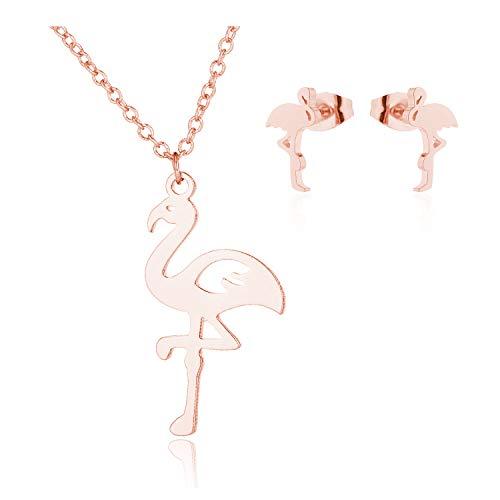 J Meng 2Pcs/Set Flamingo Necklace Stud Earrings Set Delicate Dainty Charm Flamingo Bird Pendant Necklace Girlfriend Gift (Rose Gold)