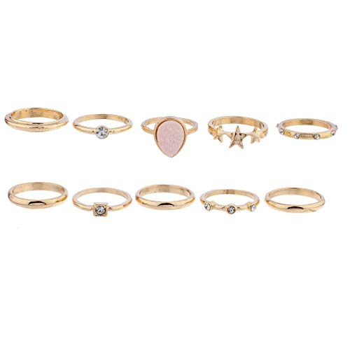 Lux Accessories Goldtone Druzy Star Celestial Novelty Stackable 10PC Ring Set