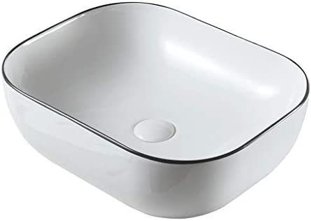 BoPin バスルームの洗面台、楕円形のセラミック上記カウンタ(タップなし)流域ホームバニティ技術流域単一流域、利用可能な2つのサイズ ベッセルシンクシンク (Size : 50X40X15cm)