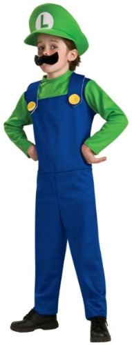 Costumes Brothers Mario Family (Luigi Child Costume - Large)