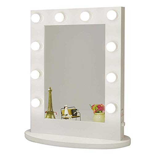 White Hollywood Makeup Vanity Mirror with 12 Dimmable Light Bulbs, Natural Daylight Lighting Wall Mirror with Detachable Base, LED Lighted Cosmetic Mirror for Bedroom Dressing Room (6550)