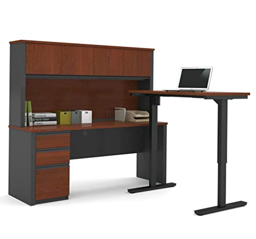 - Bestar Prestige + L-Desk with Hutch Including Electric Height Adjustable Table, Bordeaux/Graphite
