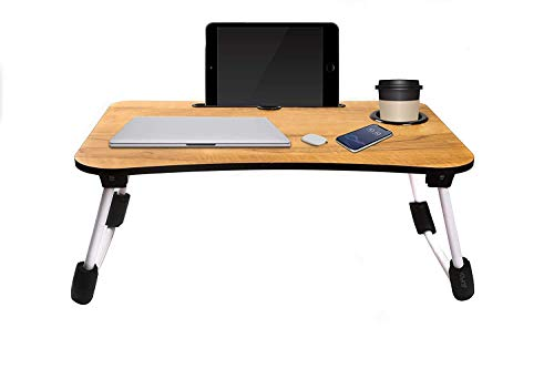 Smart Multi-Purpose Laptop Table with Dock Stand/Study Table/Bed Table/Foldable and Portable/Ergonomic & Rounded Edges/Non-Slip Legs (Wooden)