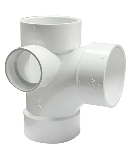 (Canplas 192148L PVC DWV Sanitary Tee, 3 x 3 x 3 x 2-Inch, White)