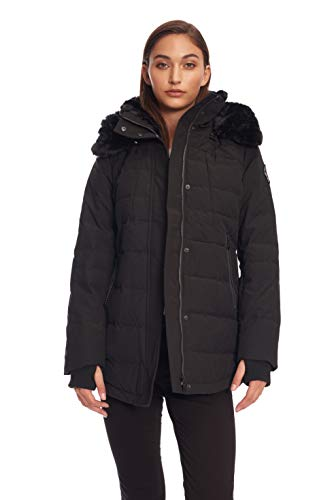 Alpine North Womens Down Short Winter Parka with Faux Fur, Black, L]()