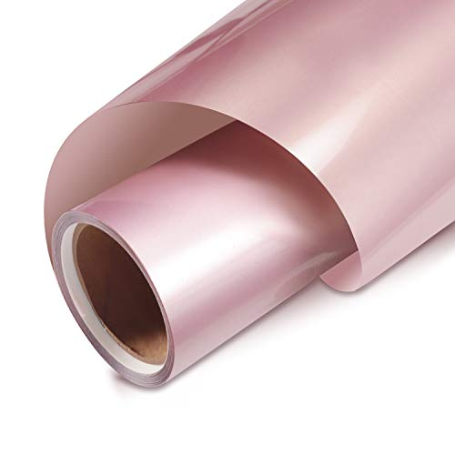 Rose Gold Vinyl Heat Transfer Vinyl Iron on HTV Vinyl Roll for T-ShirtsCompatible with Cricut, (Rose Gold, 12 Inches by 5FT)