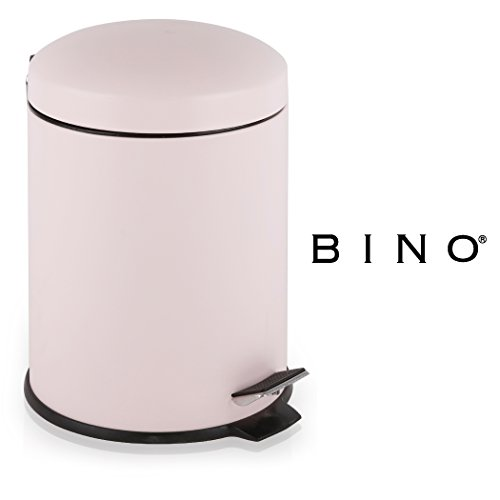 BINO Stainless Steel 1.3 Gallon / 5 Liter Round Step Trash Can (Matte - Matte Pink