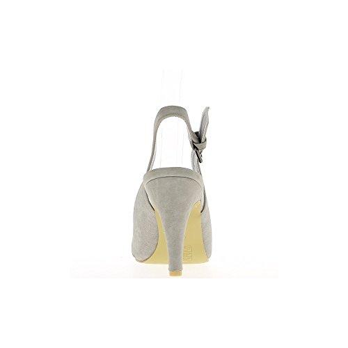 Sandales grises à talon de 10cm et plateau avant