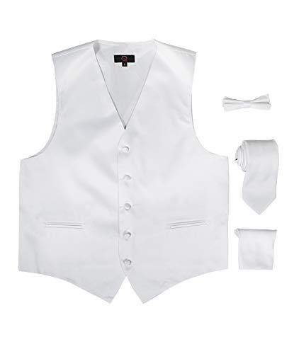 Brand Q 4pc Men's Dress Vest Necktie & Bowtie Pocket Square Set for Suit or Tuxedo - White - 6XL