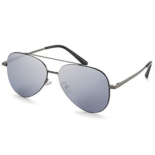 piloto TL Hombres Gafas de Aviador Non Guía Gafas Polarizzato Unisex Plata Sunglasses Gafas Sol Silver Macho qq4v5Cf