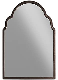 urban trends metal rectangular wall mirror with arched top tarnished finish antique brown