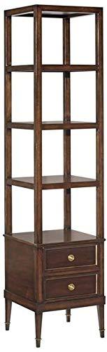 Woodbridge New Square Etagere Ebonized Mahogany Finish Gold Accents 3 Shelves/2 Drawers ()