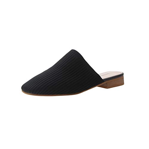 Womens Summer Baotou Half Slippers Woven Sandals Fashion Low with Shoes Wedges Pumps Single Shoes Loafers Black