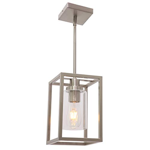 VINLUZ One Light Chandeliers Fixture Brushed Nickel Modern Pendant Kitchen Lighting with Clear Glass Shade Dining Room…