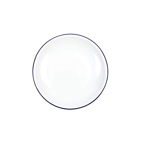 Enamelware Heavy Gauge Salad Coupe Plate, 8.1 inch, Vintage White/Blue ()