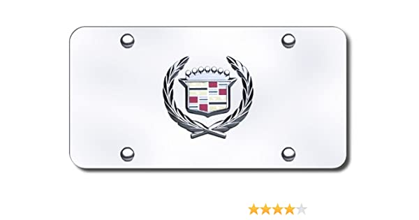 Cadillac Chrome Name Badge On Polished Chrome License Plate