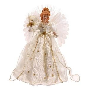 Vickerman Angel Fiber Optic Wings, 18-Inch, White/Gold (Animated Angel Tree Topper With Moving Wings)