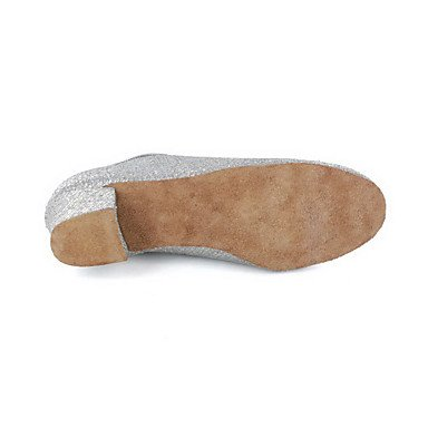 XIAMUO Nicht anpassbar - Die Frauen tanzen Schuhe Modern/Ballsaal/Praxis Schuhe Kunstleder Ferse Silber/Grau, Grau, US 9 / EU 40/UK7/CN41