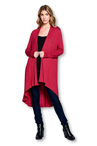 Wool Boyfriend Cardigan (Long Open Front Soft Bamboo Cardigan Sweater for Women (S - 5XL) - Made in USA (X-Large,)
