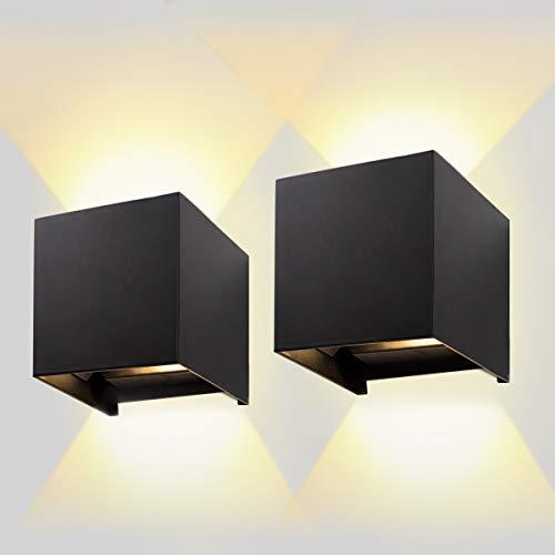 AILUKI Led-wandlamp, voor binnen en buiten, 2 stuks, 12W, 2800-3000K, warm wit, buitenverlichting, wandverlichting, LED…