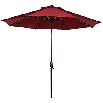 Abba Patio 9 Ft Outdoor Market Aluminum Umbrella With Auto Tilt And Crank,  8 Ribs