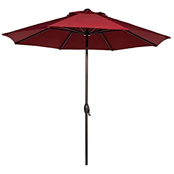 This Item Abba Patio 9 Feet Sunbrella Fabric Patio Umbrella Outdoor Table  Umbrella With Auto Tilt And Crank (Red)