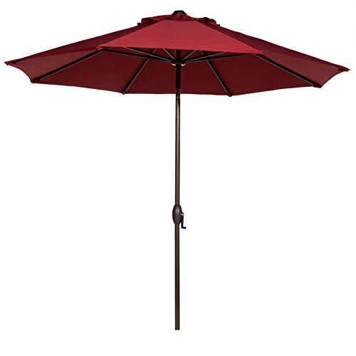 Abba Patio 9 Feet Patio Umbrella Market Outdoor Table Umbrella with Auto Tilt and Crank, Red For Sale