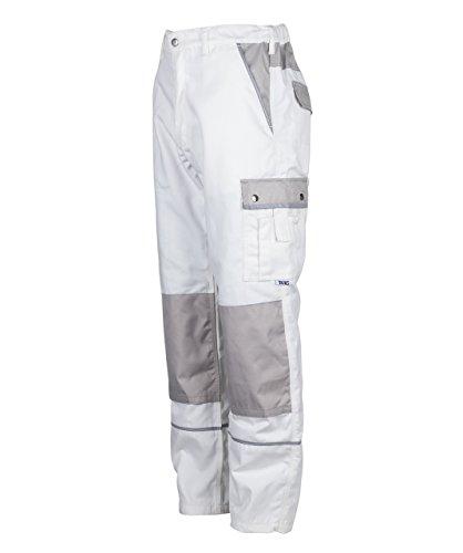 TMG® - Herren Bundhose/Cargohose für Maler - strapazierfähig - Weiß (W32 R / EU48)