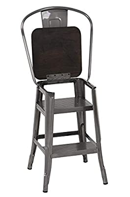 DHP P Luxor Metal Counter Stool with Wood Seat