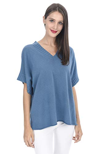 (State Cashmere Women's 100% Cashmere Oversize Short Sleeve V Neck Sweater Blue)