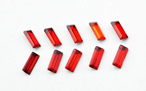 (Catotrem Baguette Rhinestone Pointback Crystal Stone Silver Plated for Nails Art Decoration(3x7mm/120pcs) Red)