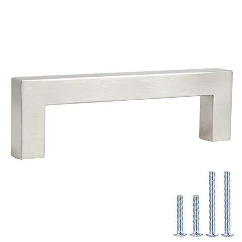 6 Pack Cabinet Pulls Satin Nickel Finish - Stainless Steel Cabinet Handles Dresser Drawer Knobs T Bar - 4in Screw Spacing Kitchen Drawer Knobs Pulls - Modern Cabinet Hardware