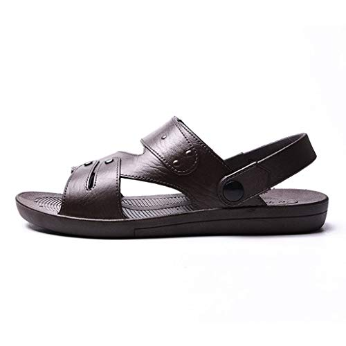 Unisex Men Men's Leather Sandals Open Toe Fisherman Breathable Sport Beach Shoes (US:8.5, -