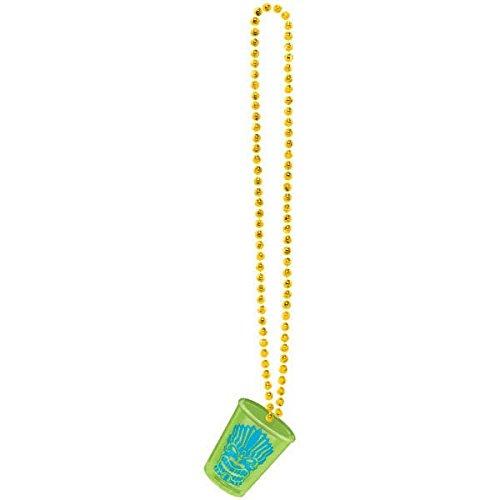 (amscan Hawaiian Summer Luau Party Cool Tiki Shot Glass Bead Necklace Accessory, Yellow, 20