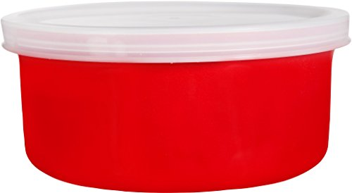 Home Essentials & Beyond 1 Round Ceramic Casserole Baker with Lid Baking Dish Roasting Lasagna Pan Red 16 Oz (Casserole 16oz Dish)