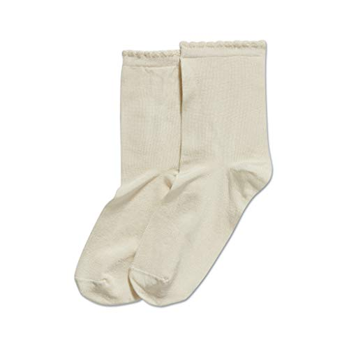 HUE Women's Casual Knit Shortie Ankle Socks, Ivory/Picot Edge Luster, One Size (Ivory Womens Socks)