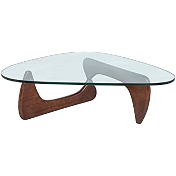 LeisureMod Imperial Glass Top Triangle Coffee Table in Dark Walnut Wood
