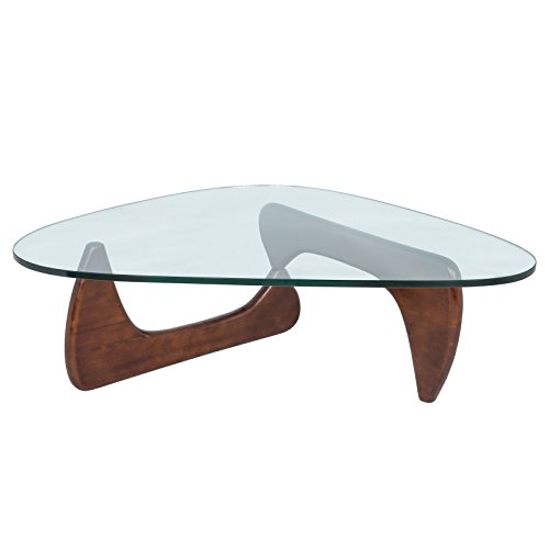 LeisureMod Imperial Glass Top Triangle Coffee Table in Dark Walnut Wood Review