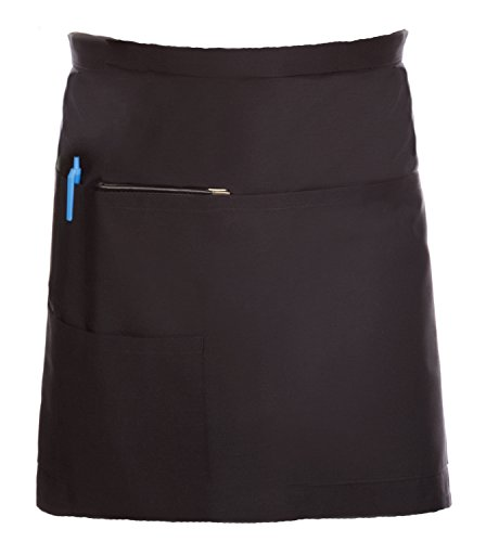 (Restaurant Bistro Waiter Waitress Black Waist Apron Short Length with Multiple Pockets)