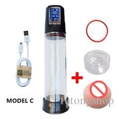Hetam Rechargeable Penis Vacuum Pump Enlarger Enlargement Sleeve Erection Enhancer by Hetam