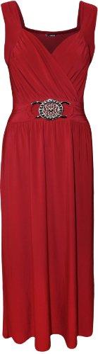 NUEVO Mujeres Plus Size Buckle Cóctel ausgestelltes Promi de partido del Mujer de máxima de vestido Rojo