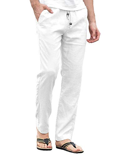 5d43b07154 Enjoybuy Mens Summer Linen Long Pants Loose Fit Drawstring Elastic Waist  Lightweight Breathable Beach Pants White