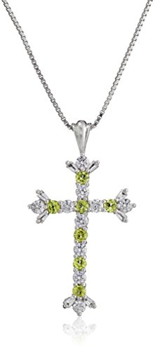 Religious Cross Peridot - Sterling Silver Peridot and Created White Sapphire Cross Pendant Necklace, 18
