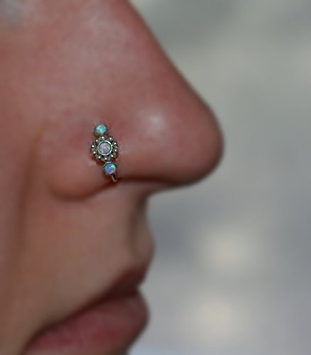 2mm Blue Opal Flower NOSE RING // Silver Nose Hoop 20g - Cartilage Earring - Helix Piercing - Rook Piercing - Tragus Ring - Daith Piercing
